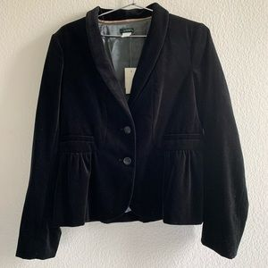 J.Crew Eden Velvet Peplum Black Blazer Size 12